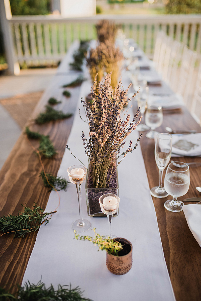 Lavender table decor | Countryside Sunset Wedding in Texas | Rebecca Chesney Photo