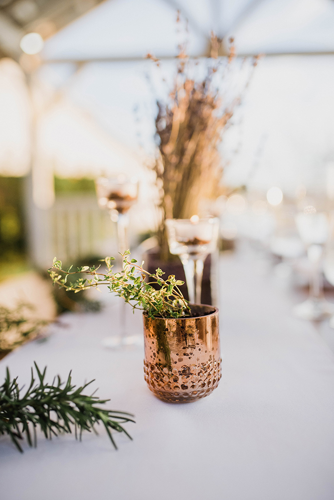 Rose gold wedding vases | Countryside Sunset Wedding in Texas | Rebecca Chesney Photo