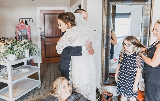 Bride on wedding morning | Minmalistic Industrial Retreat in Southern Wisconsin | Erik Anderson