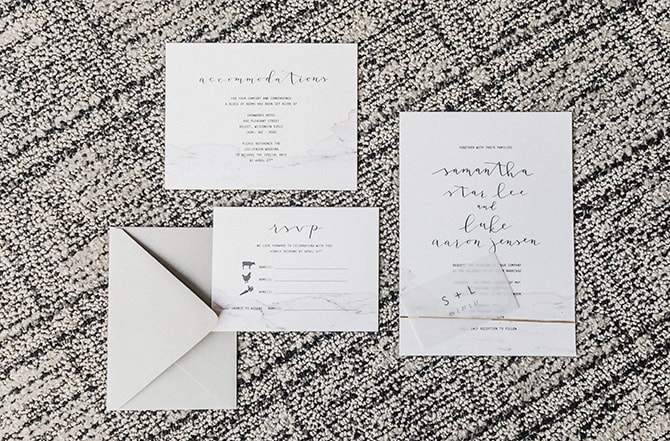 Minimalistic wedding invitations | Minmalistic Industrial Retreat in Southern Wisconsin | Erik Anderson