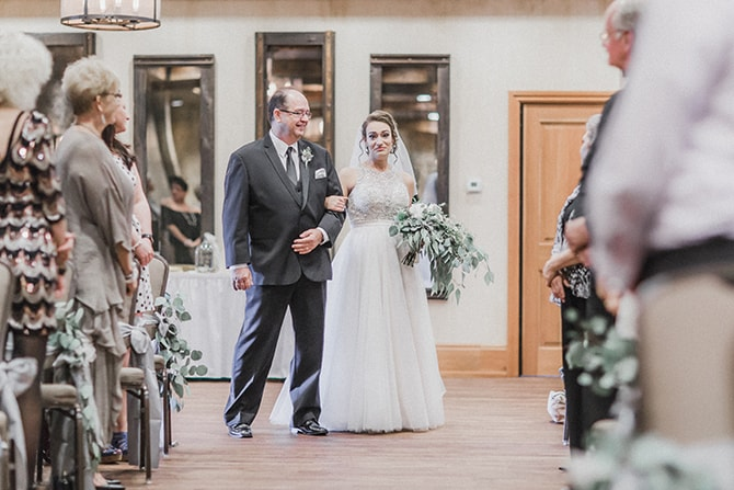 Bride arriving at ceremony | Minmalistic Industrial Retreat in Southern Wisconsin | Erik Anderson