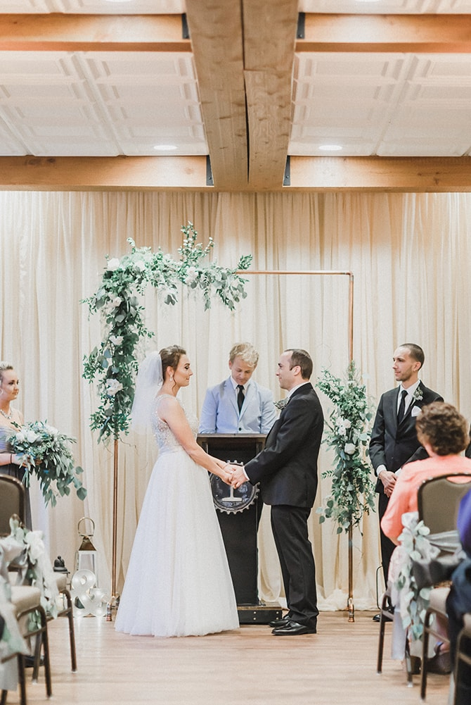 Bride and Groom at ceremony | Minmalistic Industrial Retreat in Southern Wisconsin | Erik Anderson
