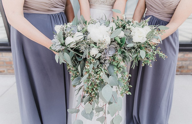 Modern mint and green wedding bouquets | Minmalistic Industrial Retreat in Southern Wisconsin | Erik Anderson