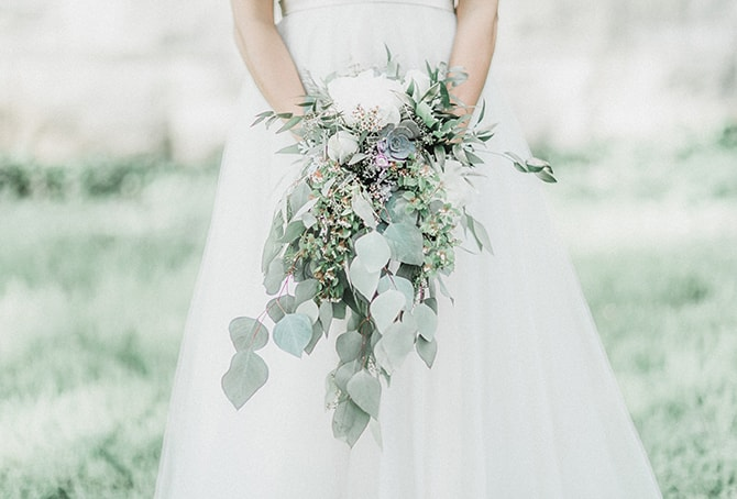 Mint green eucalyptus wedding bouquet | Minmalistic Industrial Retreat in Southern Wisconsin | Erik Anderson