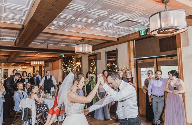 Bride and Groom dancing | Minmalistic Industrial Retreat in Southern Wisconsin | Erik Anderson