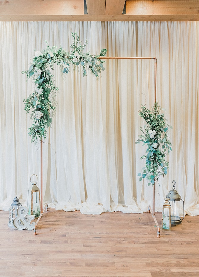 Modern simple wedding arch | Minmalistic Industrial Retreat in Southern Wisconsin | Erik Anderson