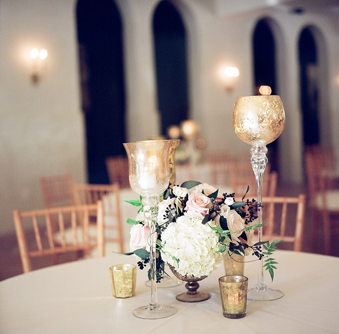 Gold candle holders for wedding | Sophisticated New Orleans Nuptials | Arte De Vie