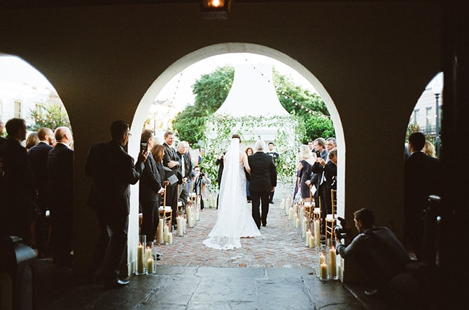 Bride walking down aisle | Sophisticated New Orleans Nuptials | Arte De Vie