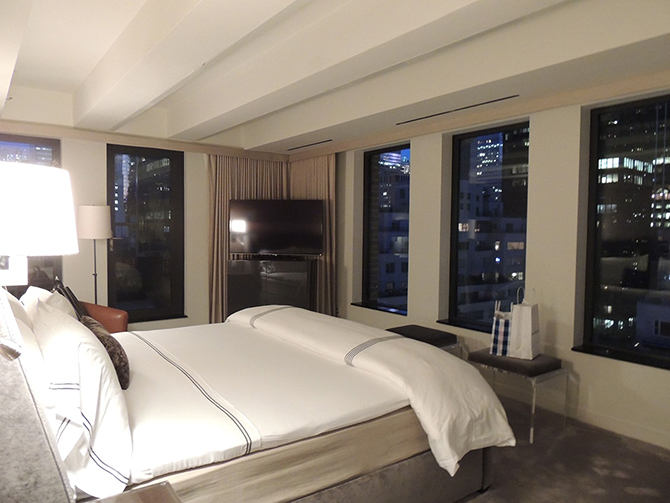 Bedroom overlooking New York | The Penthouse at The Quin Review