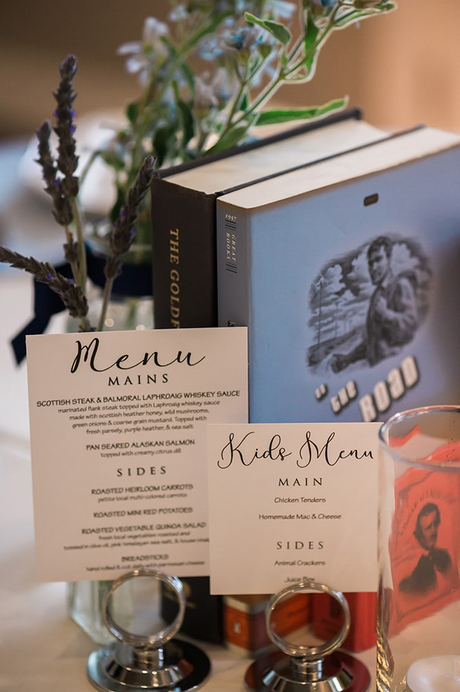 Wedding centrepieces books | Scottish Inspired Wedding in Utah | Derek Chad Photography