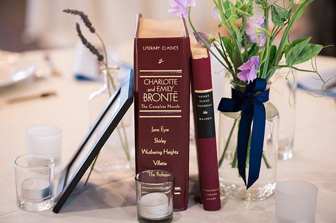 Books as wedding centrepiece | Scottish Inspired Wedding in Utah | Derek Chad Photography