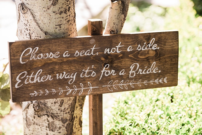 Choose a seat, not a bride, either way it's for a bride. Sign | Scottish Inspired Wedding in Utah | Derek Chad Photography