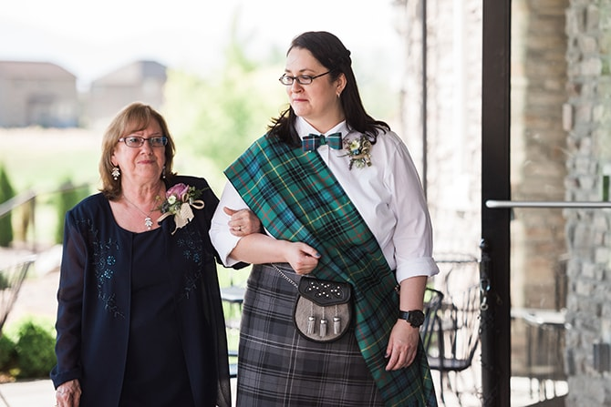 Bride walking down aisle | Scottish Inspired Wedding in Utah | Derek Chad Photography