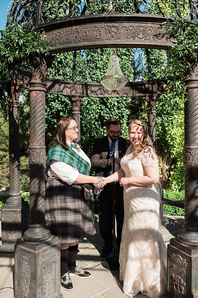 Brides at ceremony | Scottish Inspired Wedding in Utah | Derek Chad Photography