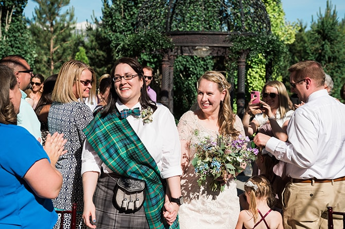 Brides walking down aisle | Scottish Inspired Wedding in Utah | Derek Chad Photography