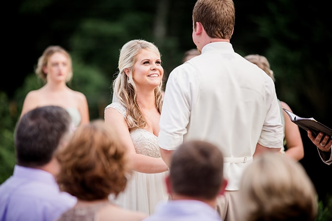 Couple at ceremony | Stylish and Modern Farm Wedding | Amanda May Photos