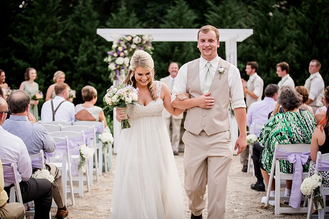 Bride and Groom leaving ceremony | Stylish and Modern Farm Wedding | Amanda May Photos