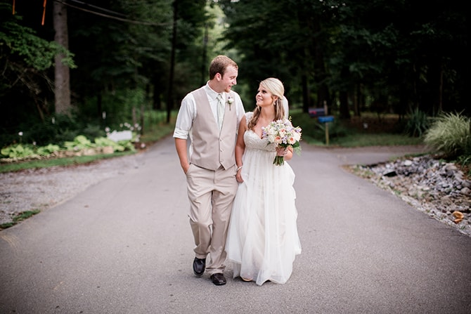 Couple walking | Stylish and Modern Farm Wedding | Amanda May Photos