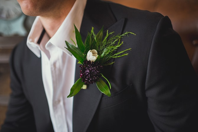 Groom's button flower | Distilled Love | Kirsten Stanley Productions