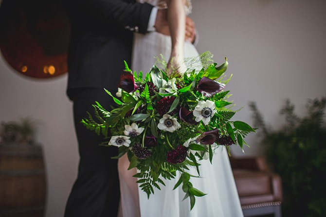 Green and white bridal bouquet | Distilled Love | Kirsten Stanley Productions