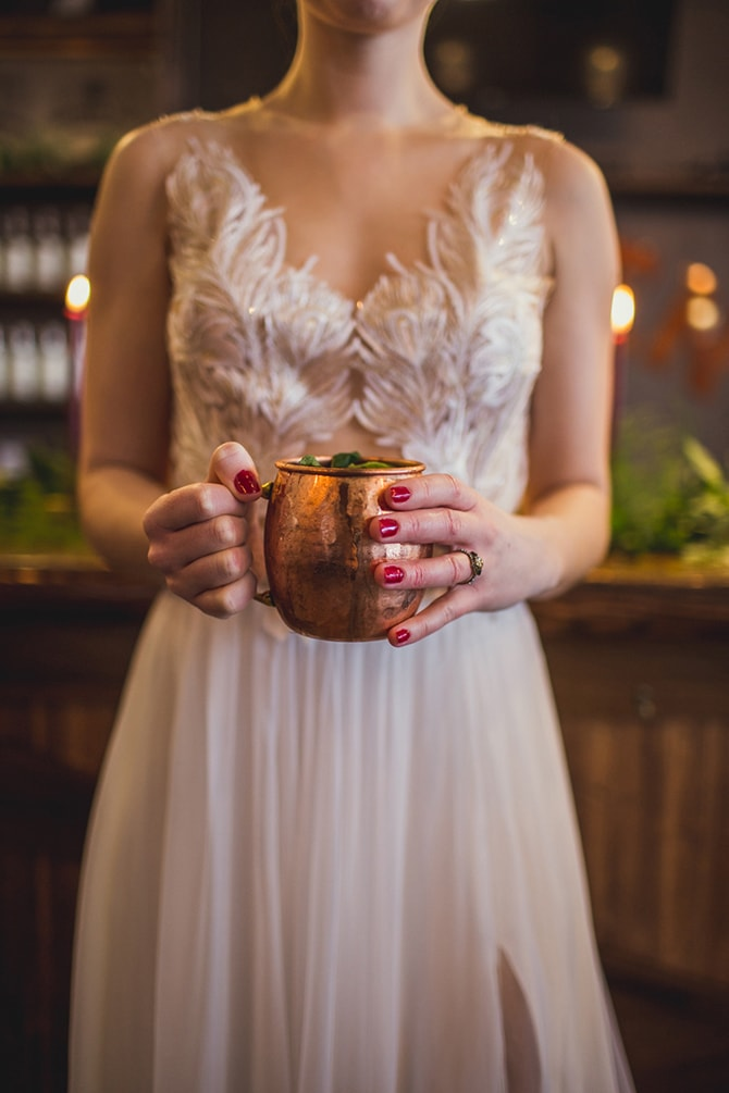 Wedding drinks in copper cups | Distilled Love | Kirsten Stanley Productions