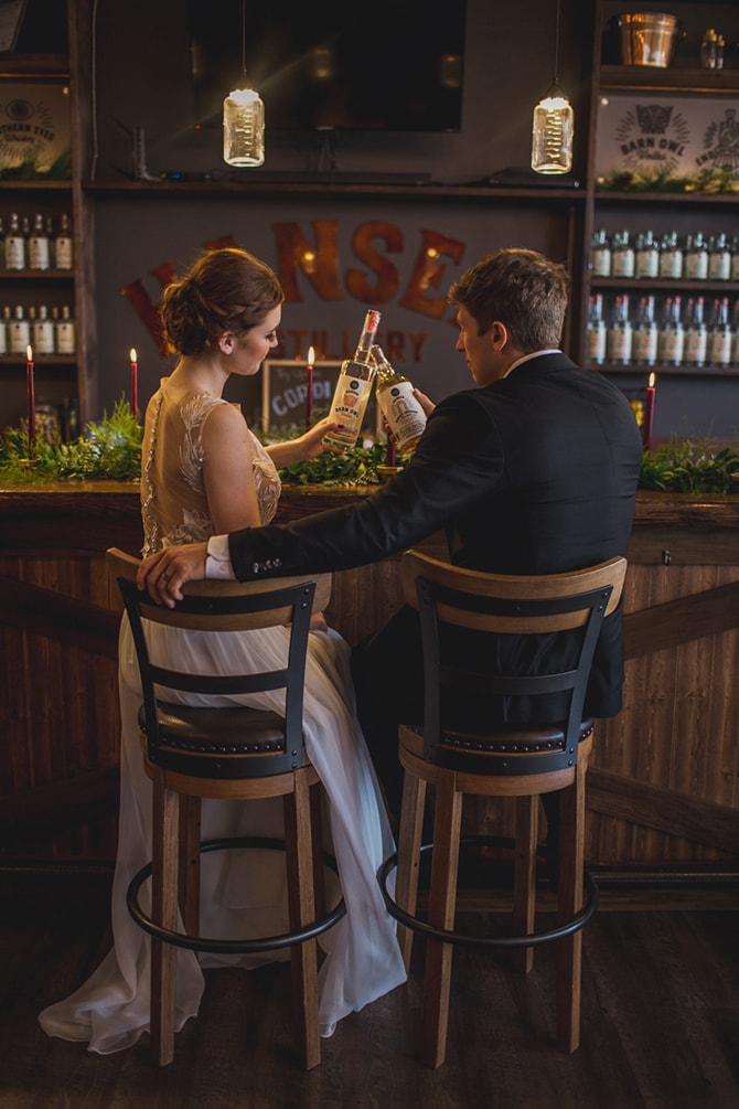 Bride and Groom at bar | Distilled Love | Kirsten Stanley Productions