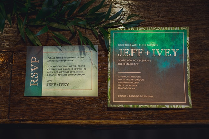 Dark and colourful wedding invitations | Distilled Love | Kirsten Stanley Productions