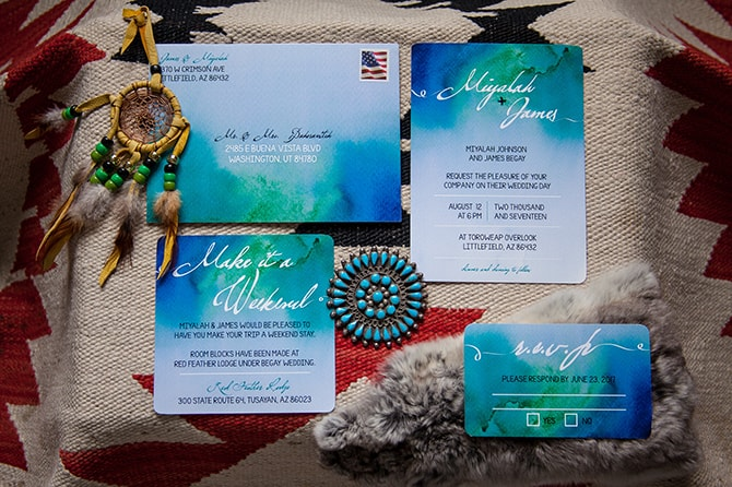 Blue and green watercolour wedding invitations | Toroweap Princess | db Photography