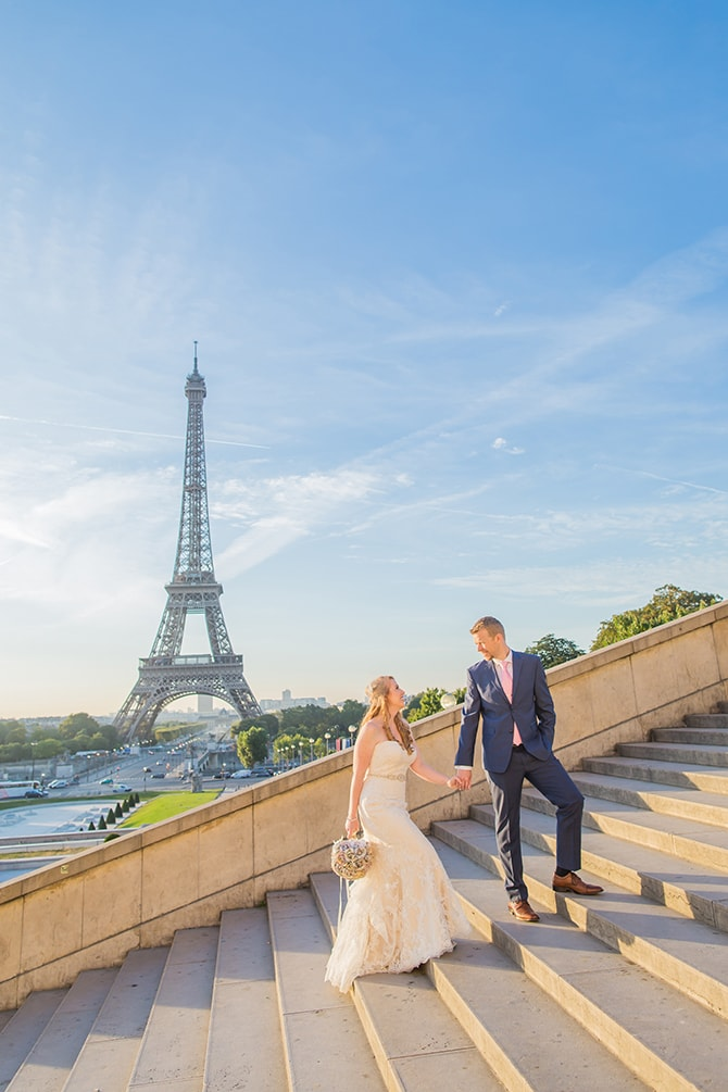 Couple Eiffel Tower | Travel Themed Intimate Wedding in Paris - Paris Photographer Pierre