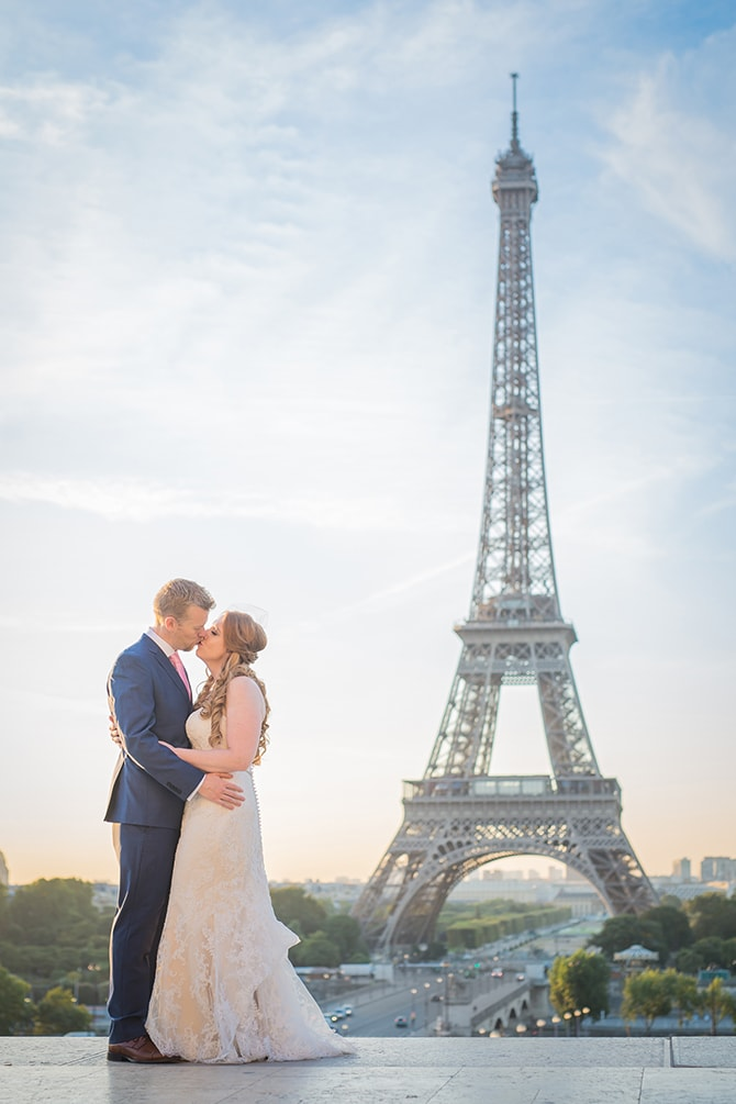 Couple at the Eiffel Tower | Travel Themed Intimate Wedding in Paris - Paris Photographer Pierre