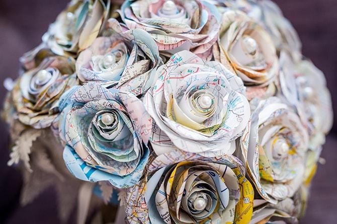 Travel themed paper bouquet | Travel Themed Intimate Wedding in Paris - Paris Photographer Pierre