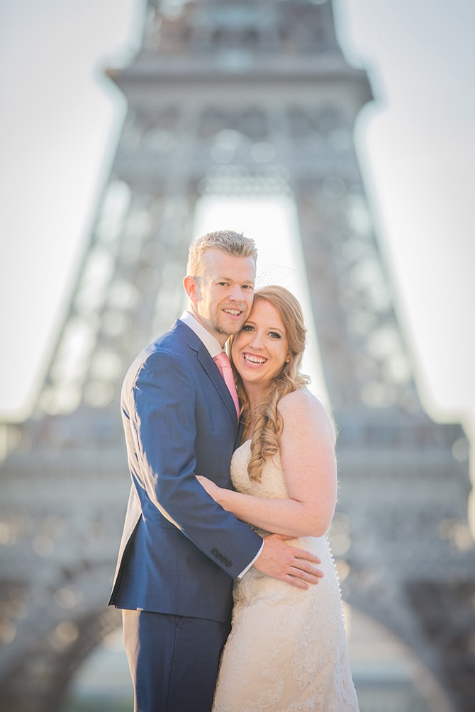 Wedding couple Eiffel Tower | Travel Themed Intimate Wedding in Paris - Paris Photographer Pierre