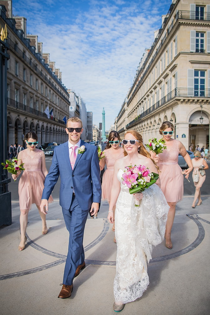 Wedding party walking to ceremony | Travel Themed Intimate Wedding in Paris - Paris Photographer Pierre