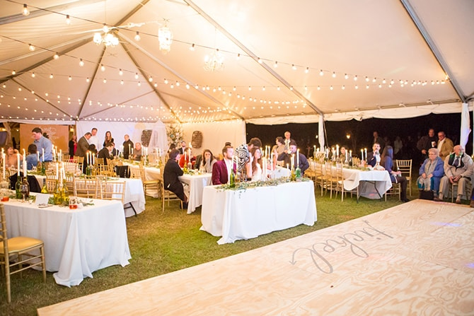 Rustic wedding in tent | DIY Backyard Wedding in South Carolina | Jessica Hunt Photography