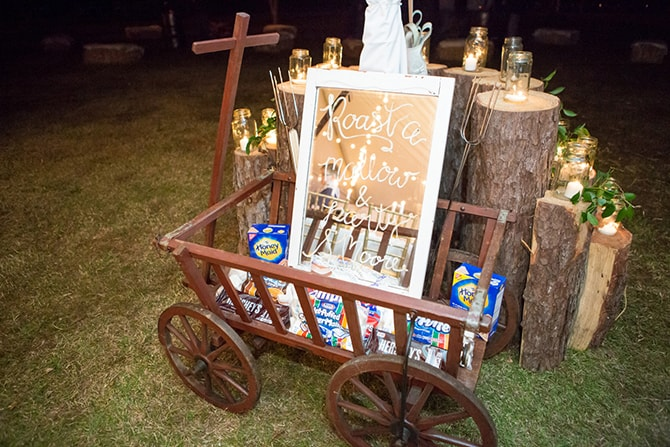 Wedding bonfire marshmallows | DIY Backyard Wedding in South Carolina | Jessica Hunt Photography