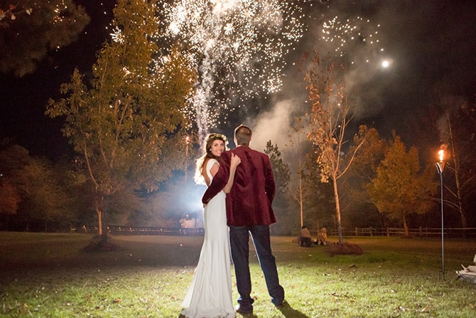 Married couple watching fireworks | DIY Backyard Wedding in South Carolina | Jessica Hunt Photography