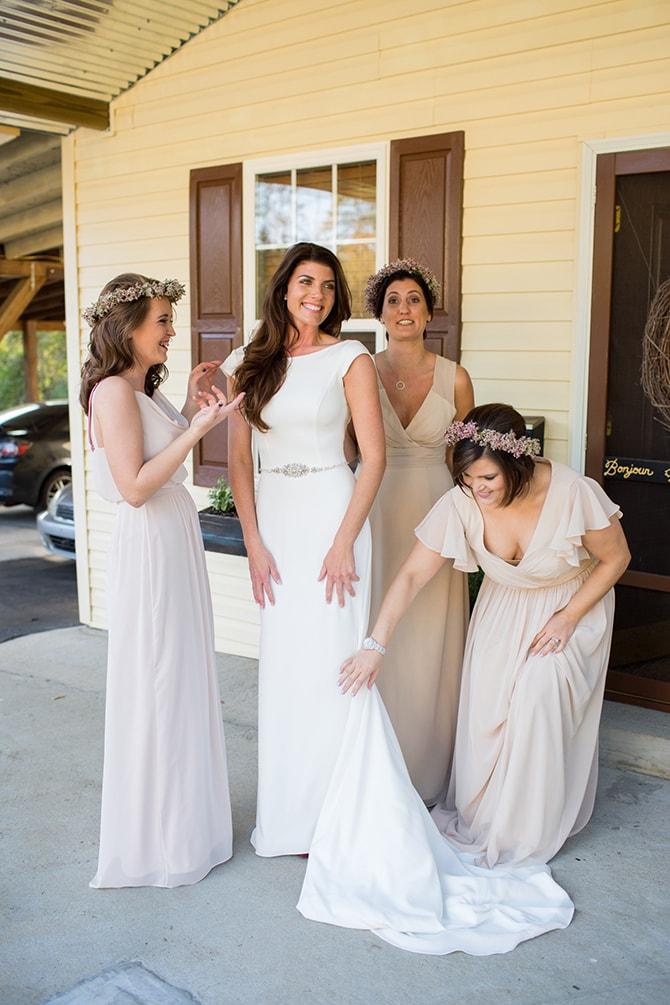 Bride with bridesmaids | DIY Backyard Wedding in South Carolina | Jessica Hunt Photography
