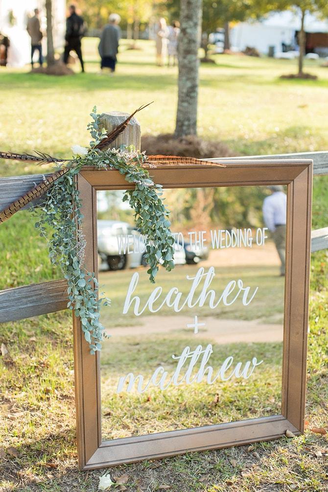 Wedding welcome mirror | DIY Backyard Wedding in South Carolina | Jessica Hunt Photography