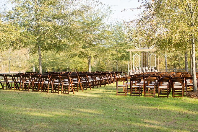 Rustic outdoor wedding ceremony | DIY Backyard Wedding in South Carolina | Jessica Hunt Photography