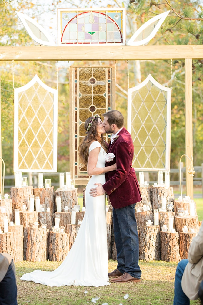 Bride and Groom kissing at ceremony | DIY Backyard Wedding in South Carolina | Jessica Hunt Photography