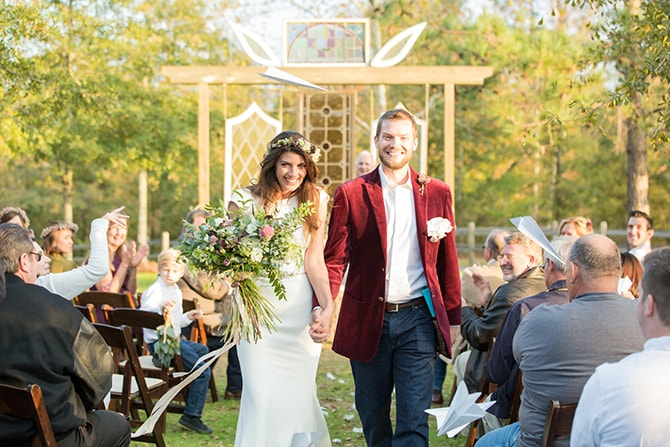 Bride and Groom walking down the aisle | DIY Backyard Wedding in South Carolina | Jessica Hunt Photography