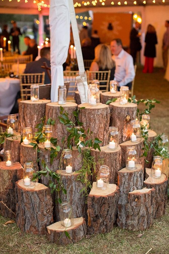 Rustic wedding candle display | DIY Backyard Wedding in South Carolina | Jessica Hunt Photography