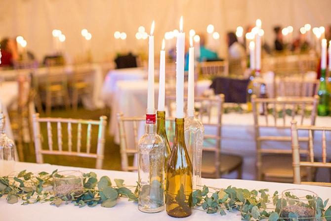 Rustic DIY wedding table centre pieces | DIY Backyard Wedding in South Carolina | Jessica Hunt Photography