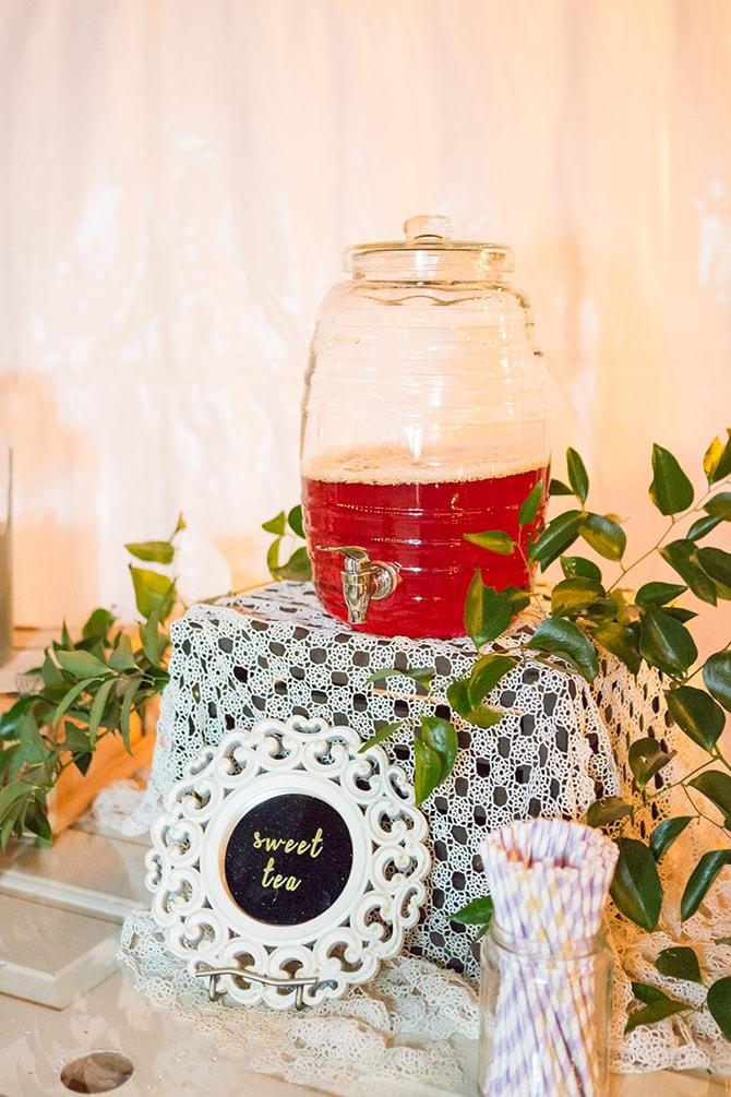 Wedding drinks table | DIY Backyard Wedding in South Carolina | Jessica Hunt Photography