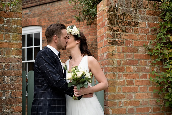 Bride and Groom kissing | Beautiful Countryside Wedding Inspiration in Buckinghamshire | KLP Photography