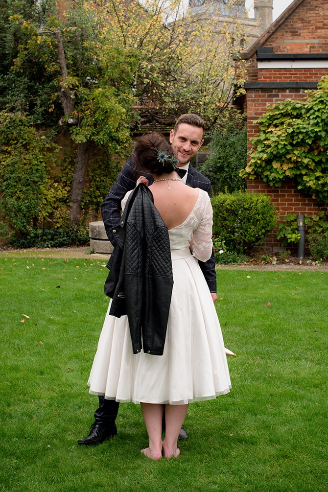Bride with leather jacket | Beautiful Countryside Wedding Inspiration in Buckinghamshire | KLP Photography