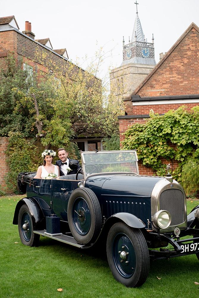 Vintage wedding car | Beautiful Countryside Wedding Inspiration in Buckinghamshire | KLP Photography