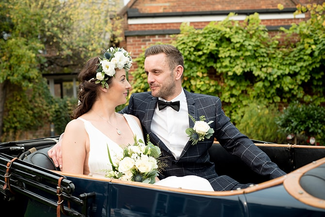 Bride and Groom sitting in car | Beautiful Countryside Wedding Inspiration in Buckinghamshire | KLP Photography