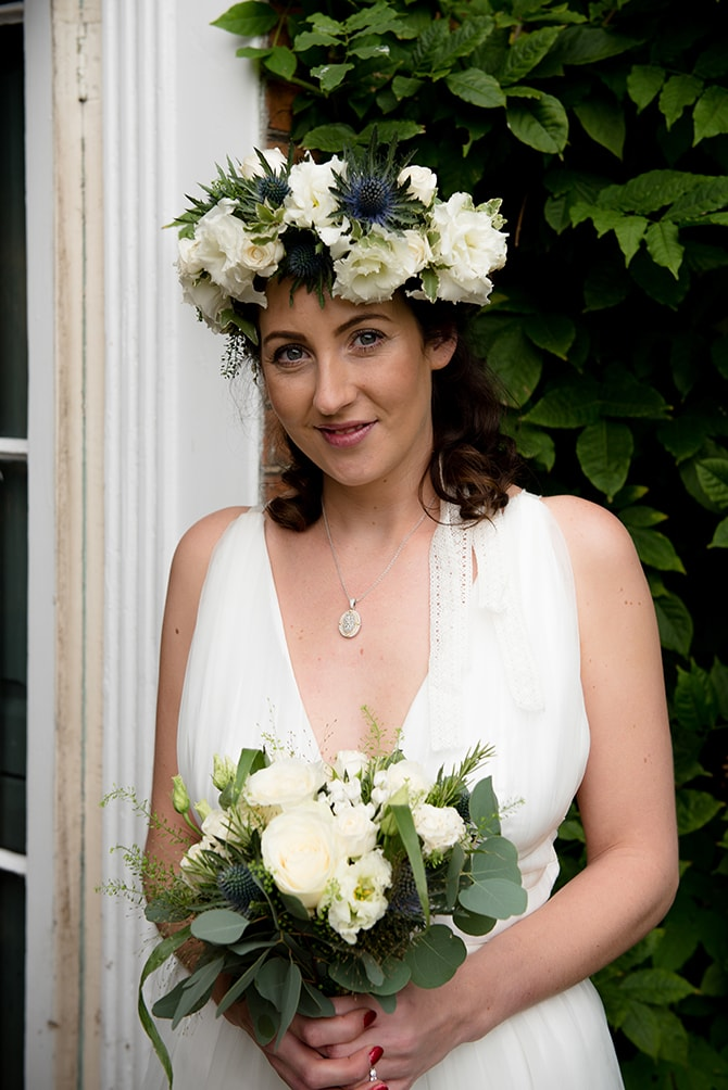 Bride with beautiful flower crown | Beautiful Countryside Wedding Inspiration in Buckinghamshire | KLP Photography