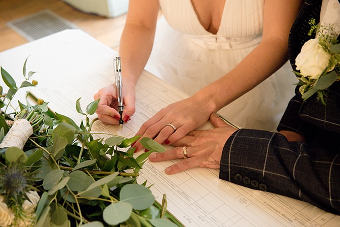 Signing the registrar | Beautiful Countryside Wedding Inspiration in Buckinghamshire | KLP Photography